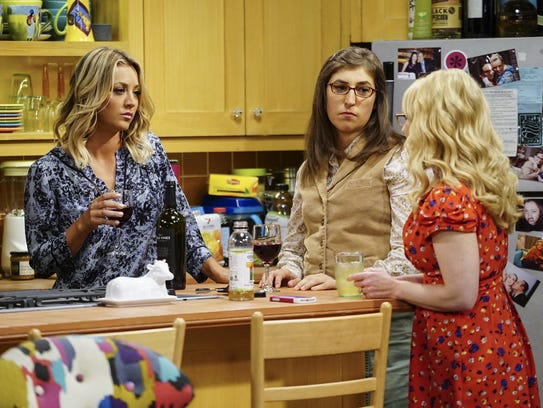 Penny (Kaley Cuoco), left, Amy (Mayim Bialik) and Bernadette