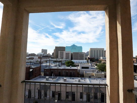 The view of Downtown El Paso from a third-floor apartment
