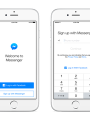 "Facebook will now let you sign up for Messenger even if you don't have a Facebook account. Users can click the option: ""Not on Facebook?"""