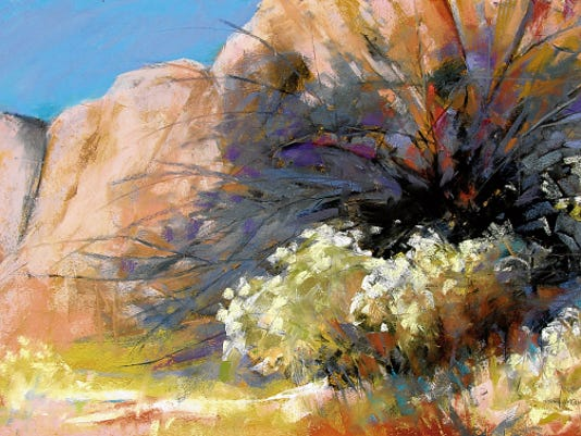 'Arroyo Splendor' by Lorraine W. Trenholm is part of the 'Clouds, Canyons and Arroyos' exhibition.