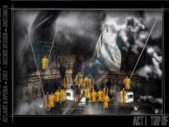 """A sketch of """"The Flying Dutchman"""" with projections"""