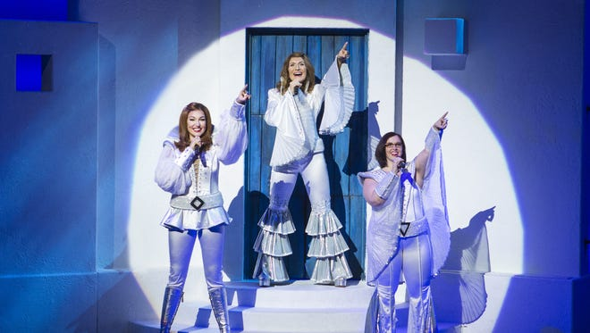 "The farewell tour of ""Mamma Mia!"" features (from left) Cashelle Butler, Betsy Padamonsky and Sarah Smith."
