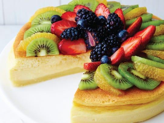 Gluten-Free Magic Cake with glazed fresh fruit from