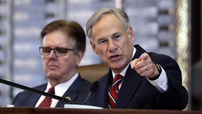 Governor Greg Abbott, right, told a Houston television station this week that the state would ease up on stringent reopening requirements.