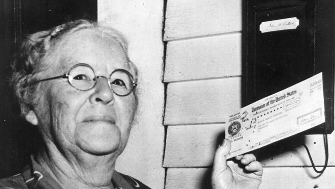 First monthly Social Security check recipient Ida May Fuller  Fuller was the first Social Security beneficiary to receive a recurring monthly payment (beginning Jan. 31, 1940).
