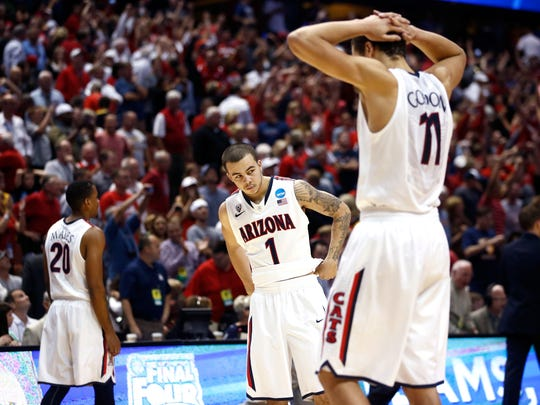 In 2014, Arizona and Wisconsin met in the Elite 8 of the NCAA Tournament, with Wisconsin winning a thriller in overtime, 64-63. Look back at the photos from that game.