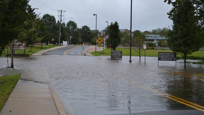 The entrance to the University of Maryland Eastern Shore on Hytche Boulevard in Princess Anne was closed due to flooding on Thursday, Sept. 29, 2016.