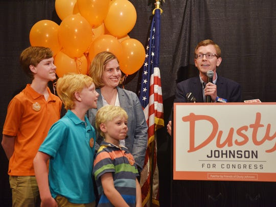 U.S. House Candidate Dusty Johnson talks to supporters before results come in Tuesday, June 5, at the Hilton Garden Inn in downtown Sioux Falls.