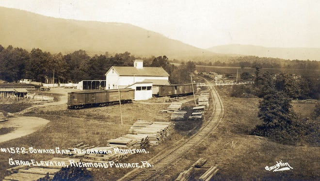 A grand view from the Cumberland Valley R.R. yard at Richmond Furnace looking towards the highway and Cowans Gap in the early 1900s.