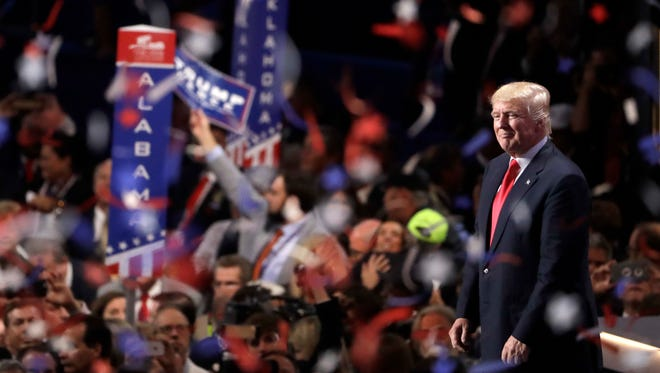 Confetti and balloons fall during celebrations after Republican presidential candidate Donald Trump's acceptance speech on the final day of the Republican National Convention in Cleveland, Thursday, July 21, 2016.