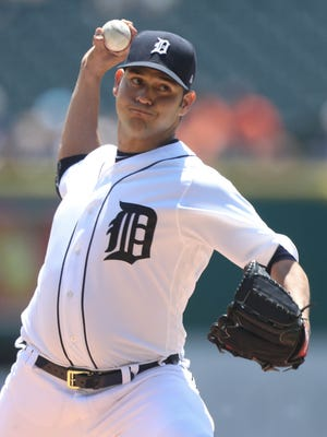 Anibal Sanchez pitches against the Giants in the first inning of the Tigers' 6-2 win July 6, 2017 at Comerica Park.