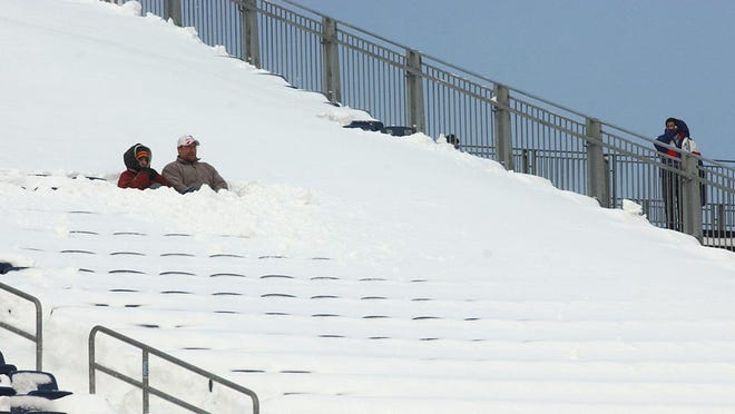 On Dec. 7, 2003, Patriots fans had to dig out their seats at Gillette Stadium to watch New England play the Miami Dolphins after a weekend storm dumped heavy snow on the region.