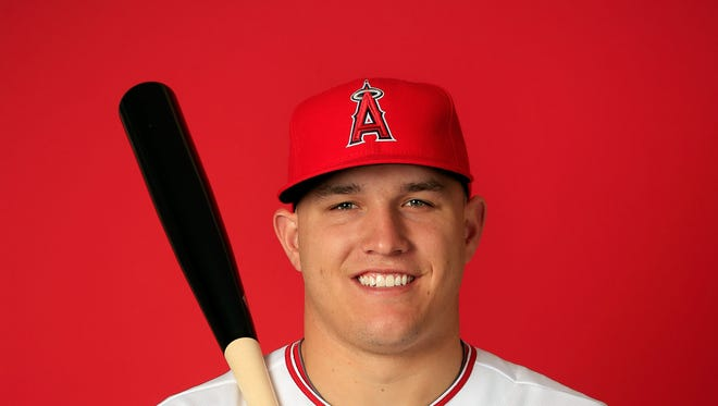 Mike Trout poses during Los Angeles Angels of Anaheim photo Day in Tempe, Arizona.