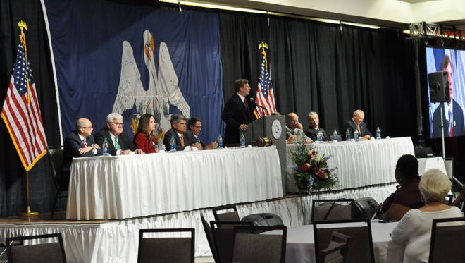 Candidates for U.S. Senate speak at a forum Thursday to participants in the Louisiana Municipal Association Convention.