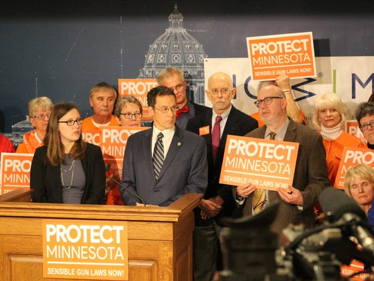 Rep. Jamie Becker-Finn, DFL-Roseville, and Sen. Ron Latz, DFL-St. Louis Park, at a press conference Thursday, March 8, presenting age restrictions on assault-style weapons.