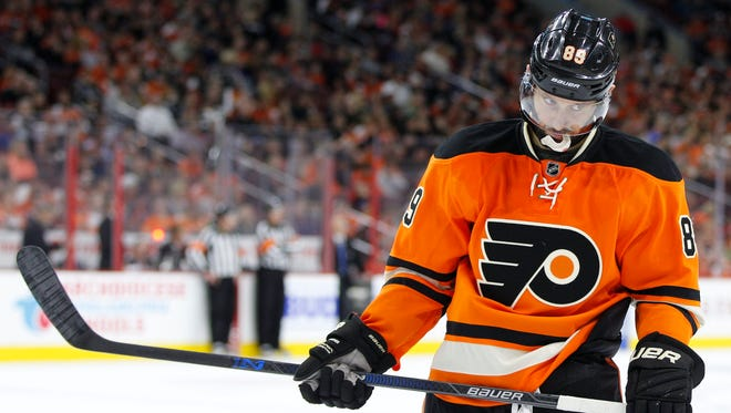 Philadelphia Flyers' Sam Gagner (89) looks on during the first period of a game against the Ottawa Senators.