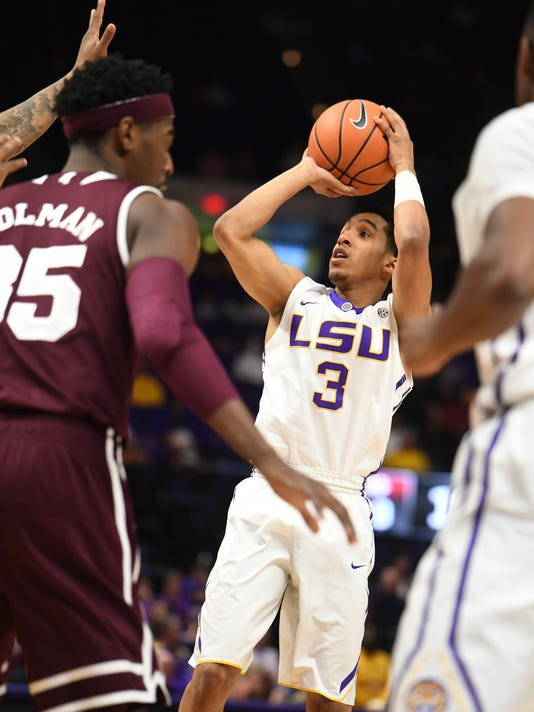 LSU's Tremont Waters (3) during the first half of an NCAA college basketball game against Mississippi State, Saturday, March 3, 2018, in Baton Rouge, La. (Patrick Dennis/The Advocate via AP)
