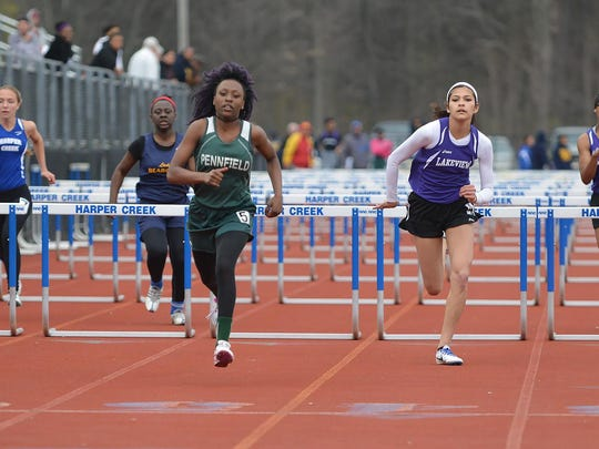 The 100-meter hurdles during the 2016 All-City Meet