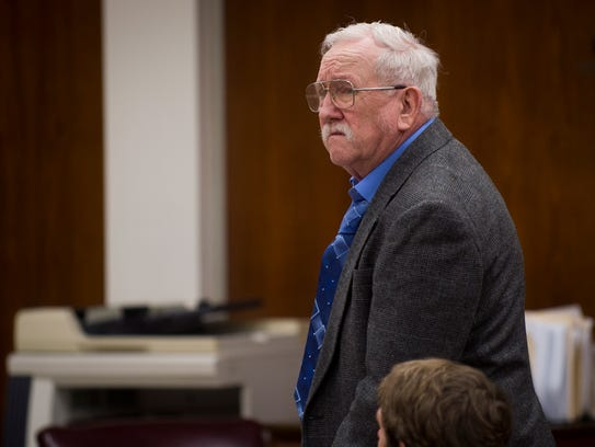 Lee Cromwell stands during his trial at the Anderson