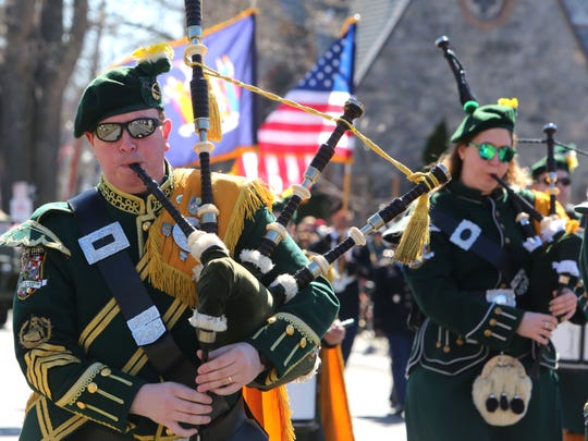 John McGowan, who is part of the Rockland County AOH Pipes and Drums Band, marches in the St. Patrick's Day Parade through Tarrytown and Sleepy Hollow March 11, 2018.