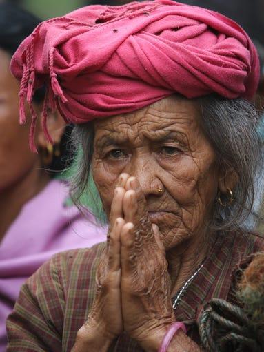An elderly Nepali in the Katunge Village Development