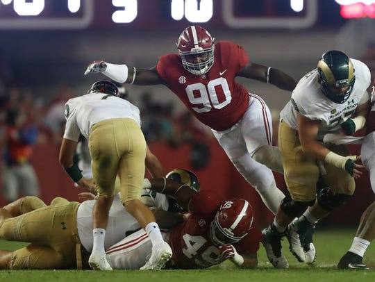 Alabama defensive end Jamar King against Colorado State