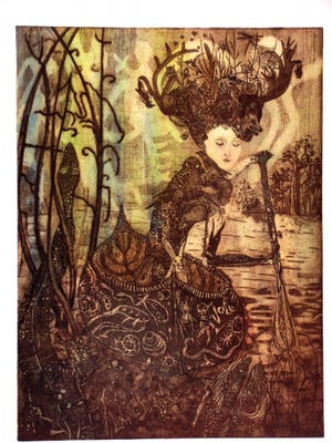 """""""Eve,"""" a print by Anna Marie Pavlik is part of the exhibit """"Wanderlust, Etchings by Anna Marie Pavlik"""" at Craft(s) Gallery."""