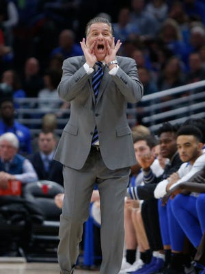 UK coach John Calipari yells a command at his team during the game against Kansas during the 2017 Champions Classic at the United Center in Chicago, IL on Tuesday, November 14, 2017.