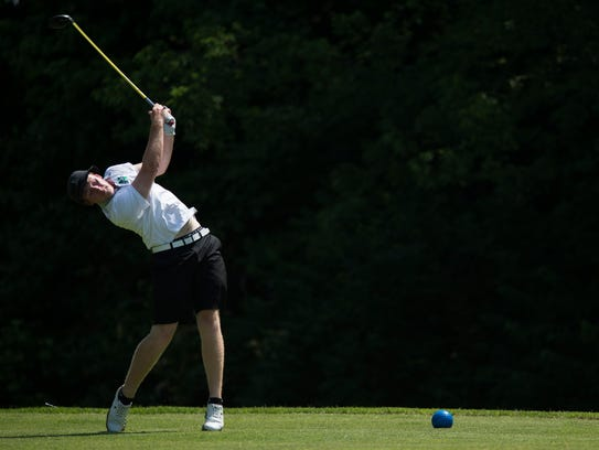 North's Stewie Hobgood tees off during the SIAC golf