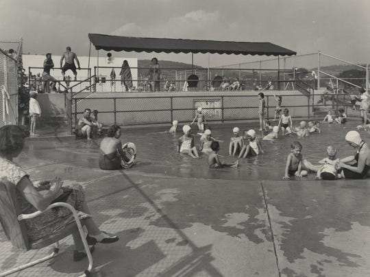 The wading pool for young ones at the IBM Country Club, about 1945.