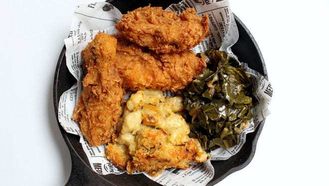 Battle House Hotel's featured dish of fried chicken, collard greens and macaroni and cheese. The greens recipe is included with this week's Recipe Exchange.