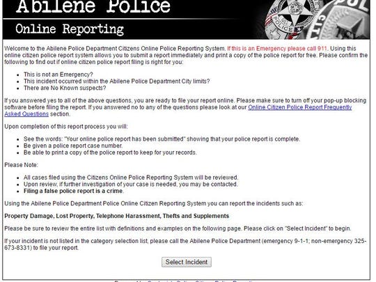 the abilene police departments coplogic system is