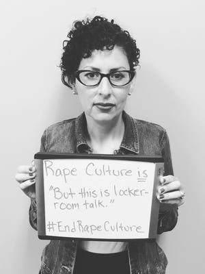 """When a video surfaced online this month showing presidential nominee Donald Trump making disparaging comments about women, local nonprofit Our VOICE started a social media campaign to get people to talk about rape culture, an environment which minimizes sexual assault and promotes the objectification of women. Executive Director Angélica Wind launched the campaign on Facebook with a black and white photo of her holding a sign that said """"Rape culture is... 'But this is locker room talk.' #endrapeculture."""""""