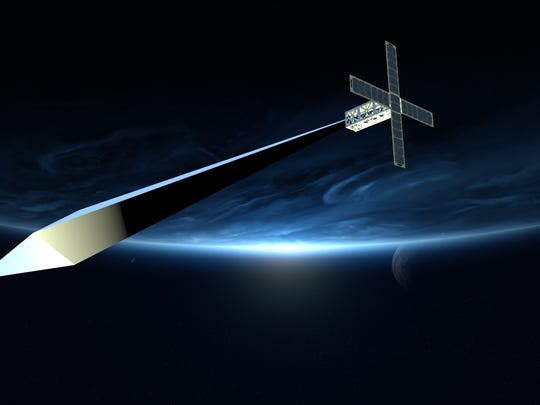 Design concept rendering for Trevor Paglen: Orbital Reflector, co-produced and presented by the Nevada Museum of Art.