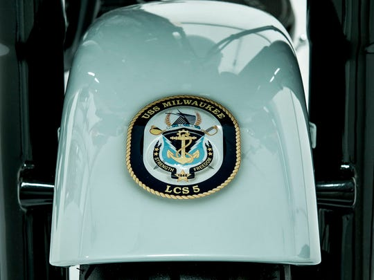 The Navy-tribute motorcycle has the USS Milwaukee crest