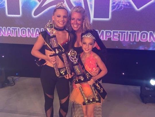 From left are Lindsey Koshowsky, 13, of Canton, Planetdance