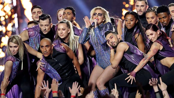 Feb 5, 2017; Houston, TX, USA; Recording artist Lady Gaga performs during the halftime show during Super Bowl LI at NRG Stadium. Mandatory Credit: Matthew Emmons-USA TODAY Sports ORG XMIT: USATSI-348602 ORIG FILE ID: 20170205_pjc_se2_132.JPG