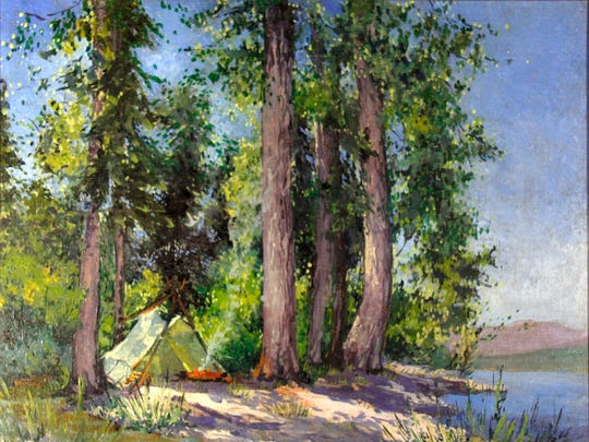 """My Camp at Sprague Creek"" was painted in Glacier National Park by Lucile Van Slyck and is part of a new exhibition at the Hockaday Museum of Art in Kalispell."