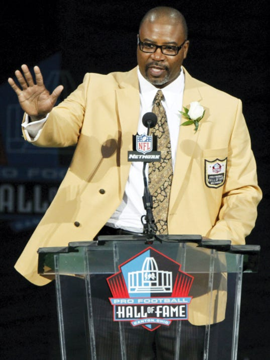 ASSOCIATED PRESS Chris Doleman acknowledges the crowd during his induction to the Pro Football Hall of Fame. The William Penn graduate played in the Big 33 in 1980 before developing into a first-round draft pick out of Pitt.