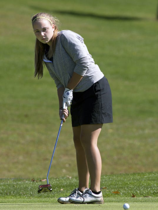 John Whitehead — for Gametimepa.com Eastern York's Alexandra Lowder just misses a putt during the District 3 golf tournament at Briarwood West Golf Course on Saturday. Lowder finished seventh to earn a spot in the regional tournament.