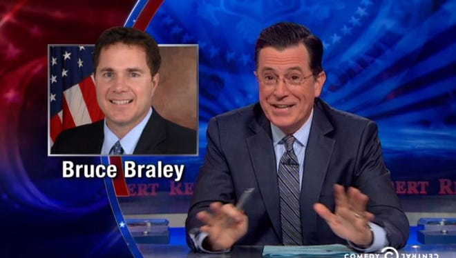 Stephen Colbert addressed first lady Michelle Obama's gaffe Monday, Oct. 13, 2014