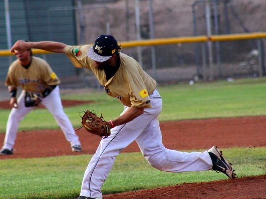 Cameron Powers throws a pitch during game five against the Roswell Invaders on Friday at the Griggs Sports Complex.