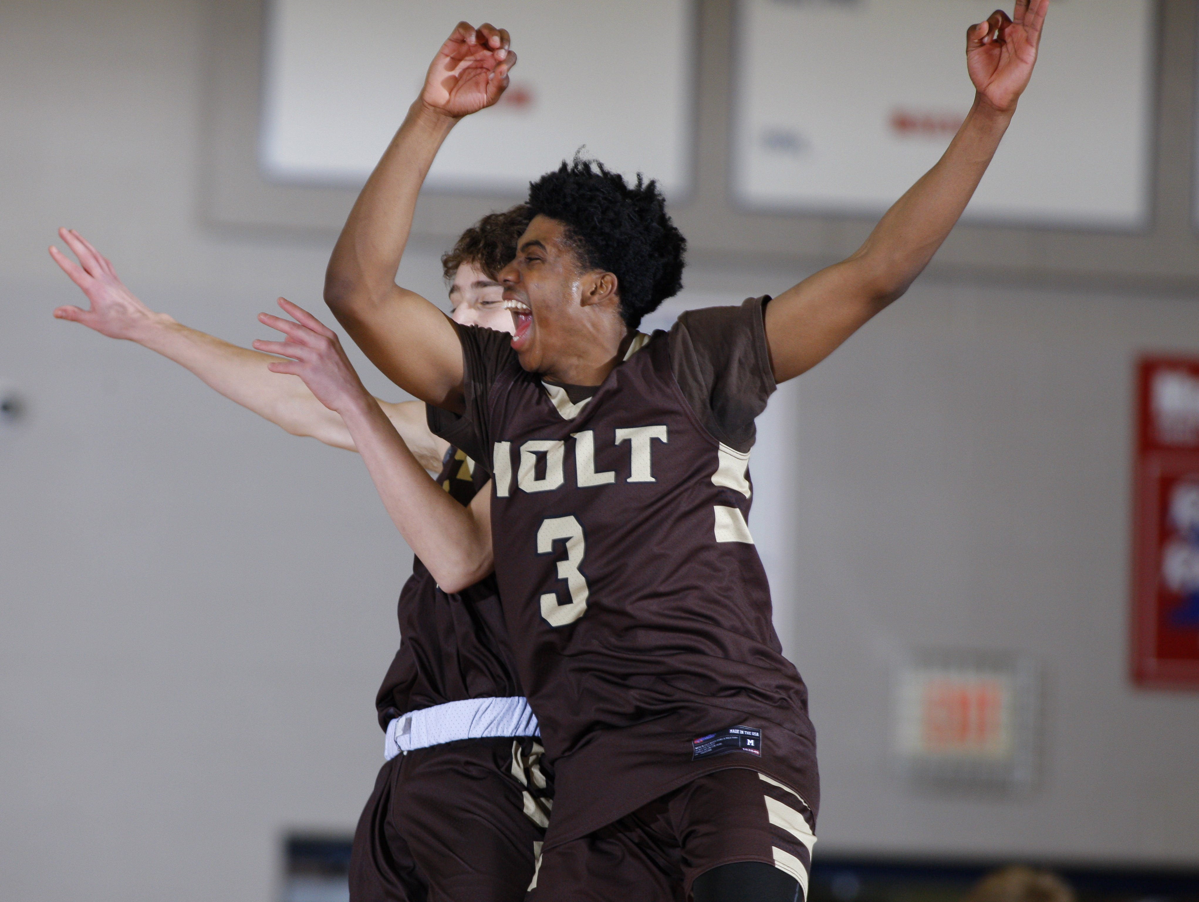 Holt's Malachi McClain (3) and Draylon Young, rear, celebrate following their district final win over Mason Friday, March 10, 2017, in Mason, Mich. Holt won 74-44.