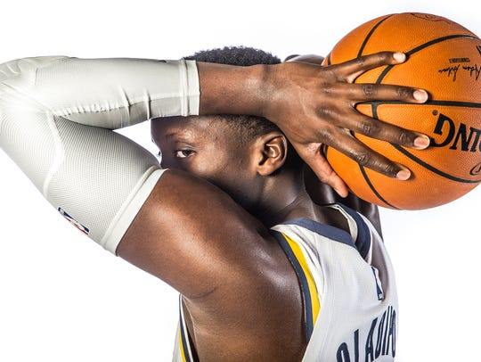 Indiana Pacers guard Victor Oladipo (4) poses for a
