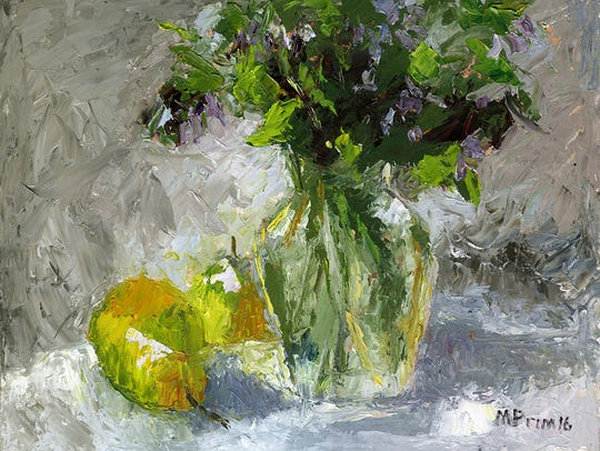 Blue Bells, Margie Prim, oil on masonite, on view at