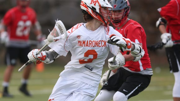 Rye defeated Mamaroneck 12-5 during lacrosse action at Mamaroneck High School April 14, 2018.