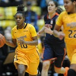 University of Southern Mississippi player Jerontay Clemons (10) drives the ball during a game against UTEP at Reed Green Coliseum Saturday.