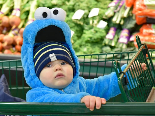 One-year-old Jack Morgan is the littlest Cookie Monster.