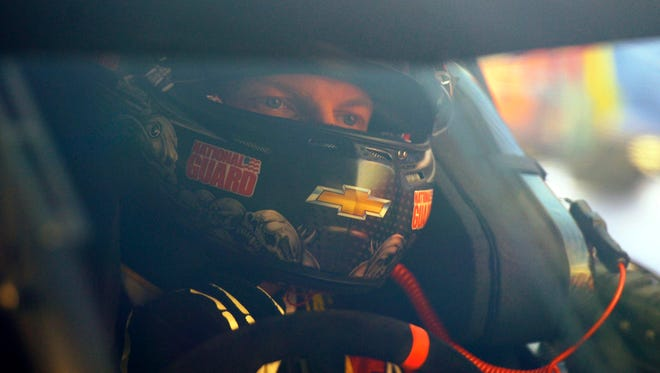 NASCAR Sprint Cup Series driver Dale Earnhardt Jr. (88) prior to the Quaker State 400 at Kentucky Speedway.