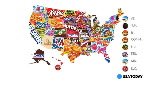 Influenster surveyed its users to determine the top candies in each state.